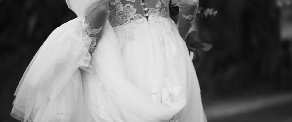 black and white bride dress