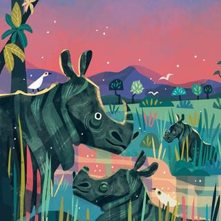 The Indian Rhinoceros loves sitting in wet mud on the river banks of Kaziranga, Assam.