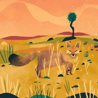 The Brown Fox loves playing hide-and-seek in the short grasslands at Jaisalmer, Rajasthan.
