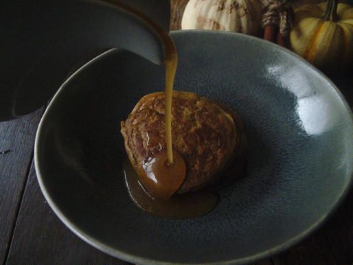 Spiced Pumpkin Pancakes with Smoky Apple Salted Caramel Sauce