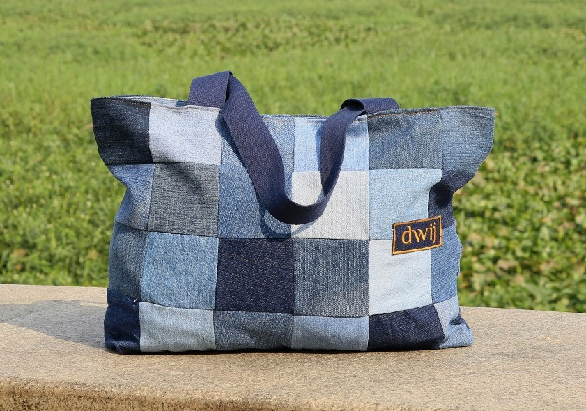 Totes slings backpacks dwij products Upcycled India recycling jeans denim