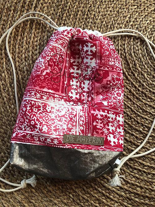 Rucksackbeutel 'Boho Red' - Einzelstück