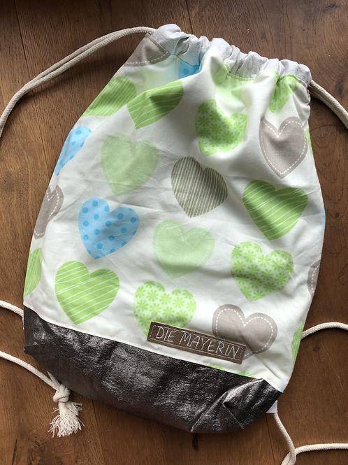 Rucksackbeutel 'Green Heart' - Einzelstück