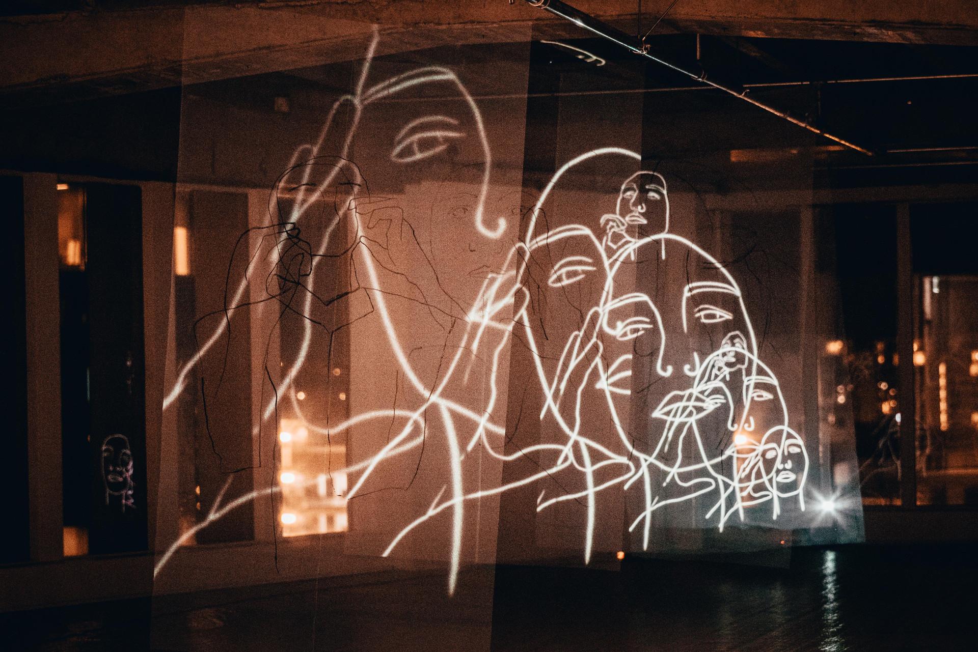 Light projection over frabric  1 Albert Street October 2020 Photo: Jeremy Ho