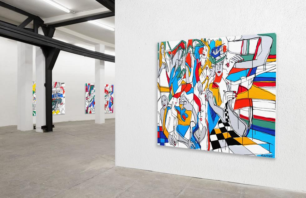 Twisting II, 1400mm x 1200mm, Acrylic on Canvas