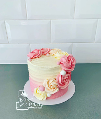 Cream and Pink Ombre Rosettes Smash Cake