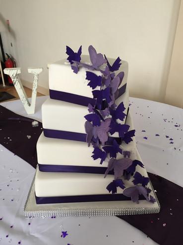 Cascading Butterflies Wedding Cake