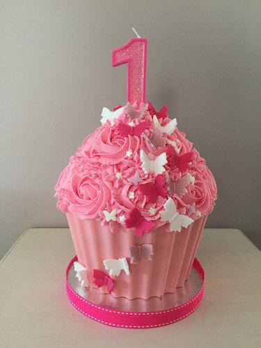 Pink Butterflies Giant Cupcake