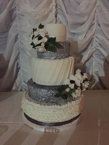 Anemone and Ruffles Wedding Cake