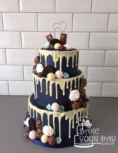 Navy Drip Junkyard Wedding Cake