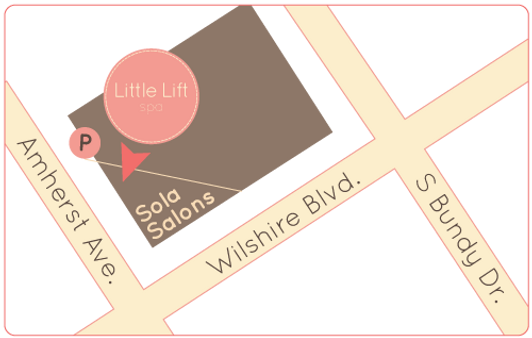 map to Little Lift Spa, Sola Studiois Brentwood, and parking entrance