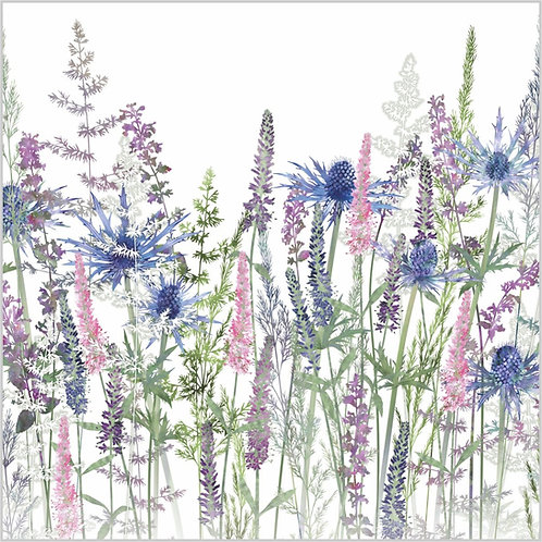 Floral blank greeting card with sea holly, veronica flowers, catmint and summer grasses.