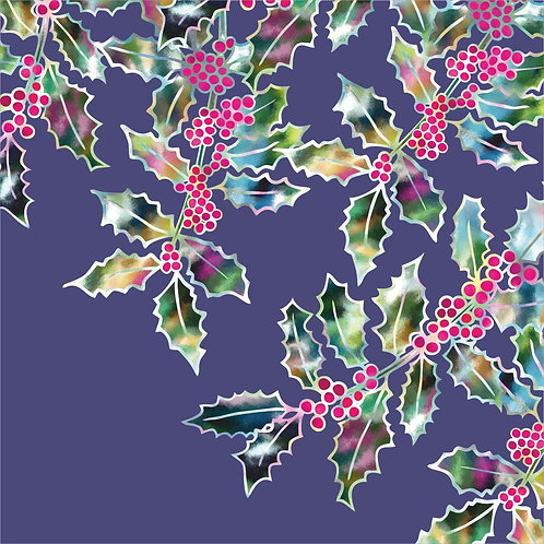 Flower Art / Floral Christmas Card / Winter Card 'Midnight Holly', Holly Leaves & Holly Berries
