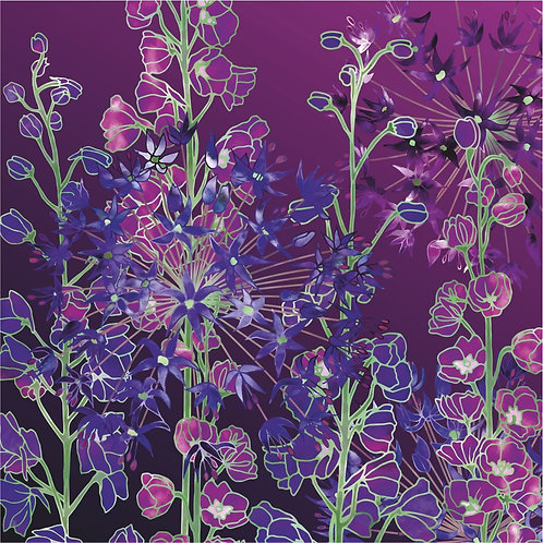 Flower Art / Floral Greeting Card 'Magical Moments' (Delphiniums, Alliums)
