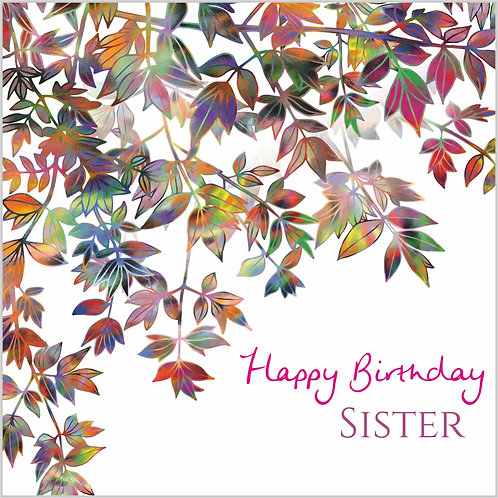 Flower Art / Floral Birthday Card 'Kaleidoscopic Boughs' (Happy Birthday Sister, Branches, Leaves, Autumn Leaves, Foliage)