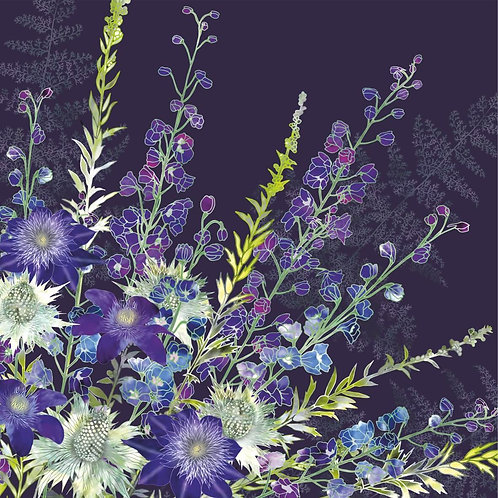 Floral blank greeting card with delphiniums, purple clematis flowers and Miss Willmott's ghost eryngiums.
