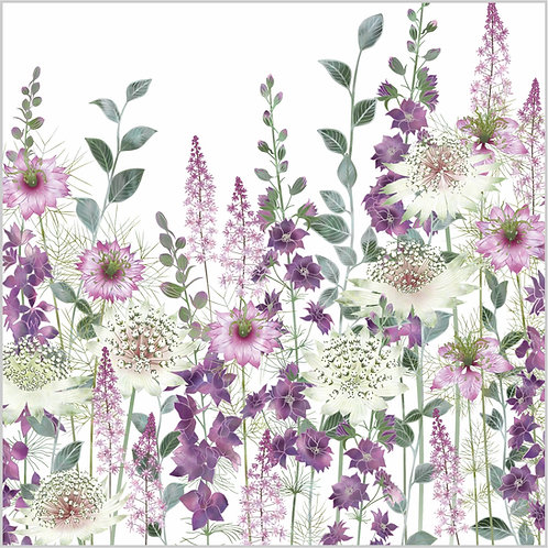 Floral blank greeting card with astrantia flowers, tiarella, larkspur and pink persian jewels.