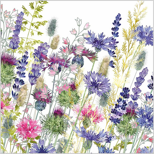 Flower Art / Floral Greeting Card 'Walking Through Whimsy' (cornflowers, lavender, thistles, grasses, heucherella, centaurea)
