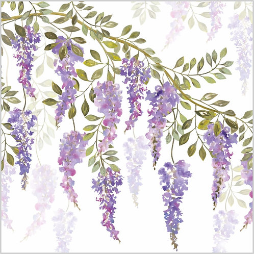 Flower Art / Floral Greeting Card 'Wisteria Blossoms'