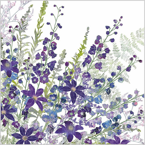 Flower Art / Floral Greeting Card 'Cluster of Purples' (clematis, delphiniums, sea lavender, ferns, purple flowers)