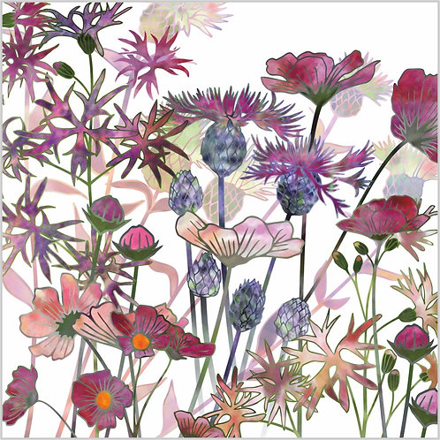 Flower Art / Floral Greeting Card 'Wild at Heart' (Wild Flowers)