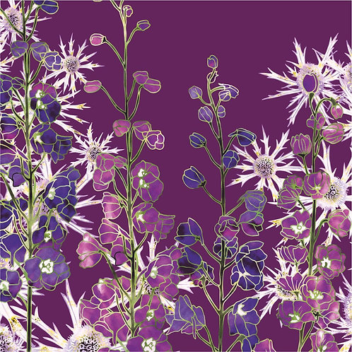 Flower Art / Floral Greeting Card 'Delphinium Glory' (Delphiniums, Sea Holly, Eryngiums)