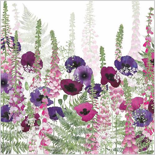 Flower Art / Floral Greeting Card 'Summer Day Dream' (ferns, foxgloves, bracken, poppies, purple poppies, cow parsley)