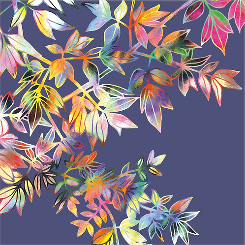 Flower Art / Floral Greeting Card 'Leafy Spectacle' (Foliage, Branches, Leaves, Autumn Leaves)