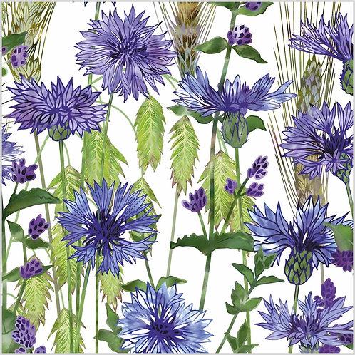 Flower Art / Floral Greeting Card 'Cornflowers' (cornflowers, northern sea oats, wheat ears, rye, barley)