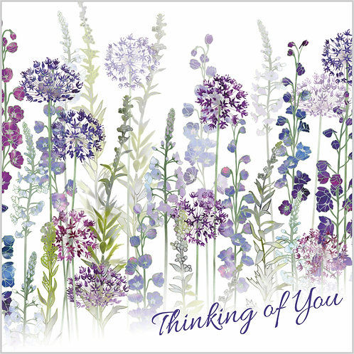Flower Art / Floral Thinking of You Card 'Purple Rapture' (Alliums, Delphiniums, Veronica)