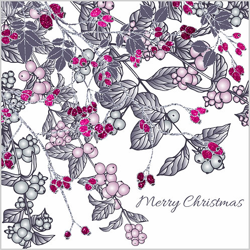 Floral Art Christmas Card 'Snowberries and Rosehips', Merry Christmas, pink berries, glitter effect, silver glitter, rose hip