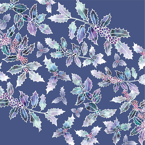 Flower Art / Floral Christmas Card / Winter Card 'Holly Madness', Blue, Holly Leaves & Holly Berries