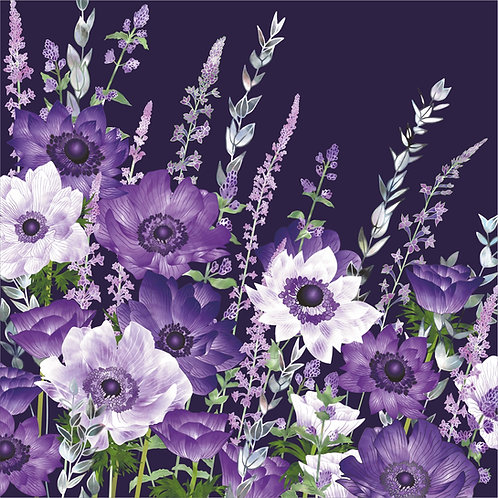 Floral blank greeting card with anemones, purple toadflax flowers and catmint.