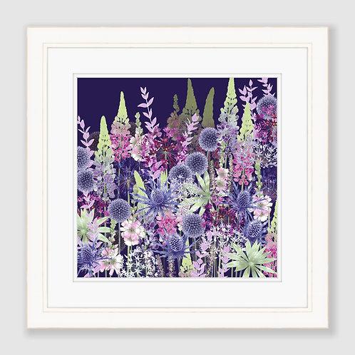 Midnight Flower Dance (Square) Print