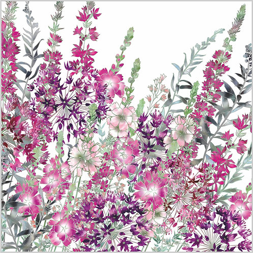 Floral blank greeting card with heucherella bridget bloom, purple loosestrife, sidalcea and allium flowers.