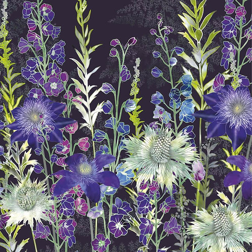 Flower Art / Floral Greeting Card 'Purple Garden' (clematis, delphiniums, eryngiums, Miss Willmott's ghost)