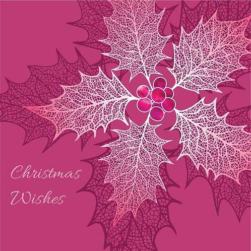 Flower Art/ Floral Christmas Card 'Heavenly Holly', Red, Merry Christmas, Holly Leaf Skeletons, Holly Berries, Holly Leaves