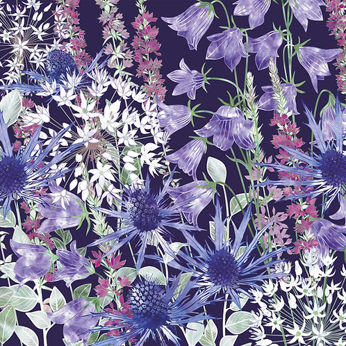 Floral blank greeting card with sea holly, purple loosestrife, campanula persicifolia and white allium flowers.