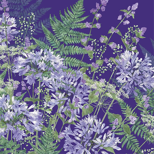 Floral blank greeting card with blue agapanthus flowers, catmint, heucherella, ammi and bracken ferns.