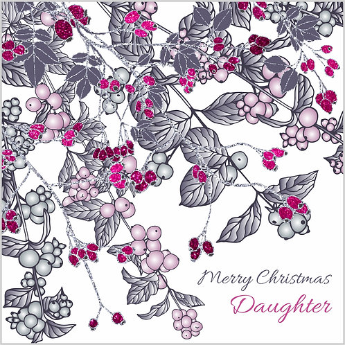 Floral Art Christmas Card 'Snowberries and Rosehips', Merry Christmas Daughter, pink berries, glitter effect, silver glitter