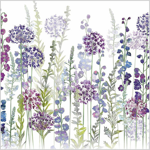 Flower Art / Floral Greeting Card 'Purple Rapture' (Alliums, Delphiniums, Veronica)