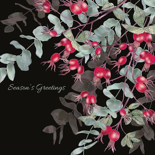Midnight Scarlet Rosehips Card
