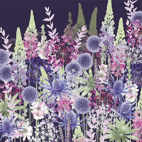 Floral blank greeting card with echinops, sea holly flowers, sidalcea, lupins and alliums.