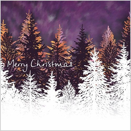 Flower Art / Floral Christmas Card 'Winter Wonderland', Merry Christmas, Christmas Trees, Fir Trees, Forest