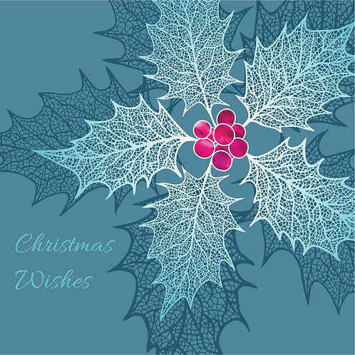 Flower Art / Floral Christmas Card 'Heavenly Holly', Green, Merry Christmas, Holly Leaf Skeletons, Holly Berry, Holly Leaves