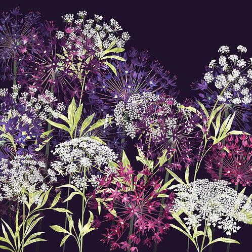 Floral blank greeting card with alliums and ammi flowers.