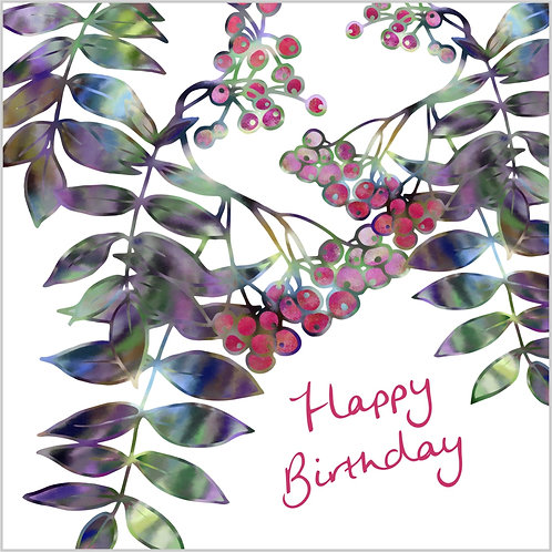 Flower Art / Floral Birthday Card 'Summer Berries'