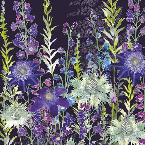Floral blank greeting card with delphiniums, clematis flowers and Miss Willmott's ghost eryngiums.