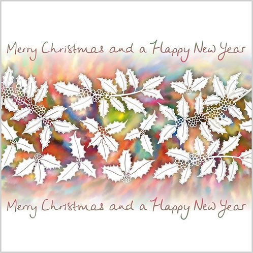 Flower Art / Floral Christmas Card 'Christmas Holly' Merry Christmas & a Happy New Year