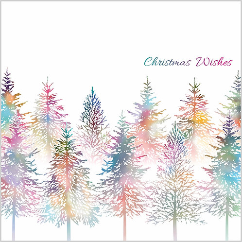 Flower Art / Floral Christmas Card / Winter Card 'The Magical Christmas Forest', Christmas Trees, Fir Trees, Forest